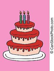 Three Tier Birthday Cake with Three Candles