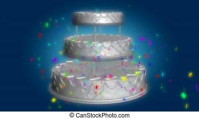 Three tier cake and confetti