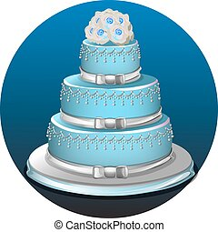 Llight blue birthday cake on light blue background with vectors