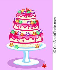 Three tier pink cake