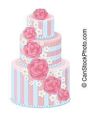 Three-Tier Wedding Cake Decorated with Glaze Roses