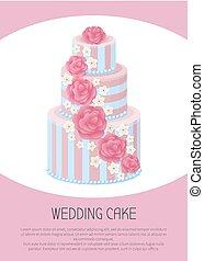 Three-Tier Wedding Cake Decorated with Glaze Roses