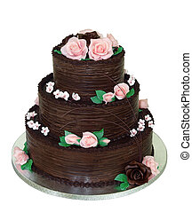 Three Tiered Chocolate Cake isolated with clipping path
