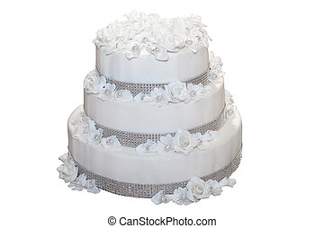 Three tiered wedding cake isolated on white