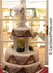 Three tiered wedding cake portrait