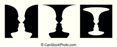 Three times figure ground perception, face and vase