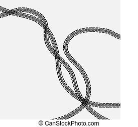 Three tire tracks