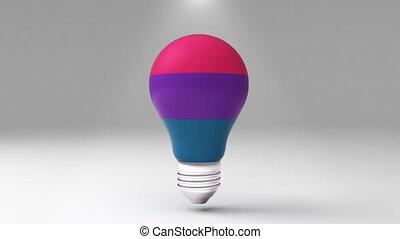 Three title 3D bulb shape box, visualization shape a light...