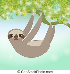 Three-toed sloth on green branch. Vector illustration