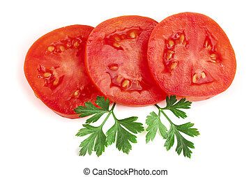 Three tomato slice with leaf parsley isolated on white background. Top view