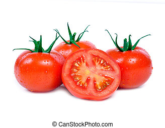 Three tomatoes and one half on white background