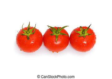 Three tomatoes isolated on the white background