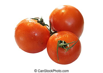 three tomatoes isolated over white
