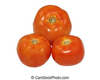 Three tomatoes. Isolated.