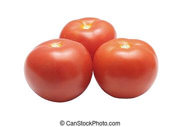 Three tomatoes isolated