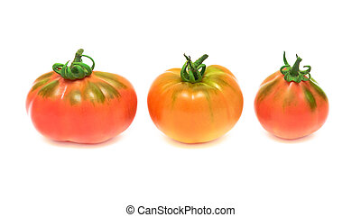three tomatoes on white background