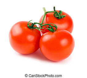 Three tomatoes with a green branch isolated on a white background