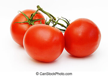 Three tomatos on a vine isolated on a white background