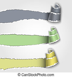 Three torn paper banners with space for text. Vector eps 10