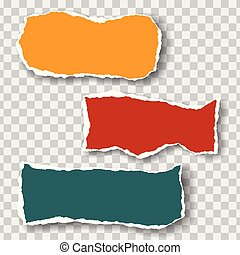 Three torn sheets of paper of different colors with shadow, isolated on a transparent background, suitable for infographics