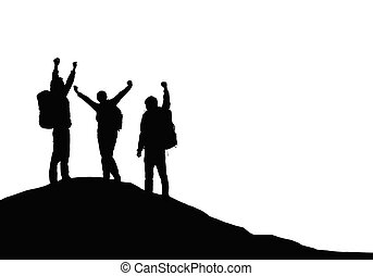 Three tourists with backpacks on top of a mountain rejoice in success