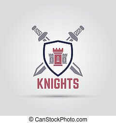 three tower castle in the middle of the shield behind which two crossed swords isolated vector sport team label template