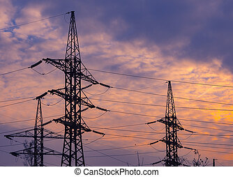 Three Towers of power lines, day, outdoor