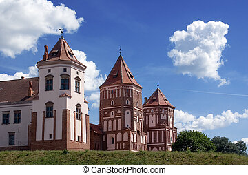 Three towers - View to three towers of Mir Castle, Belarus