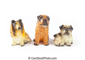 Three toy dog isolated on a white background