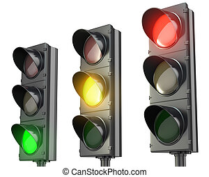 Three traffic lights, red green and yellow