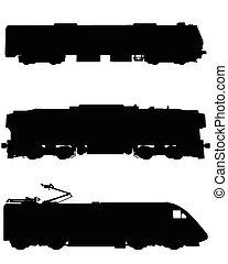 Three trains silhouettes