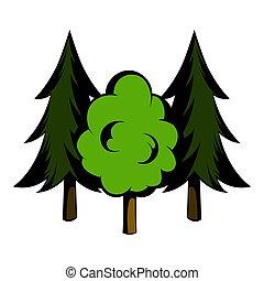 Three tree icon cartoon