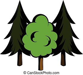 Three tree icon cartoon
