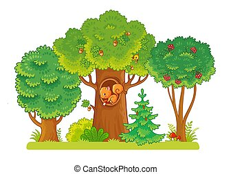 Three trees on a glade with berries and acorns. A squirrel sits in a hollow. Trees on a white background.