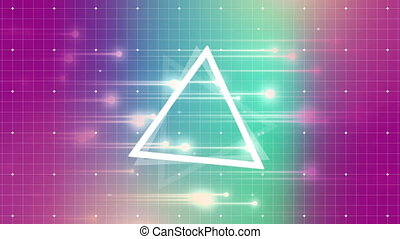 Three triangle turning around itself with retro purple and pink grid background