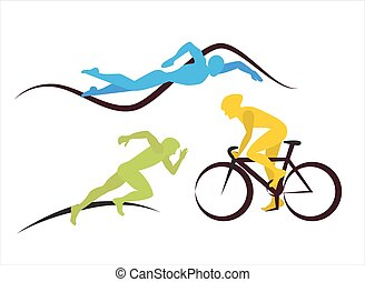 Icons for triathlon and other spot events - Three triathlon...