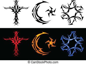 Three tribal religious symbols