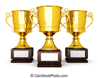Three Trophies - Three golden trophies with a blank plate ...