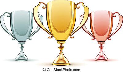 three trophies - Vector illustration of three trophies -...