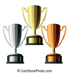 Three trophies - Vector illustration of gold, silver and...