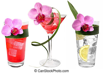 Three Tropical Drinks - Three tropical drinks with flowers...