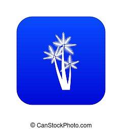 Three tropical palm trees icon digital blue