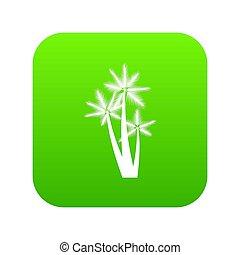 Three tropical palm trees icon digital green