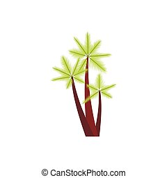 Three tropical palm trees icon, flat style