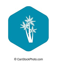 Three tropical palm trees icon, simple style