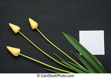 Three tulips on grunge wooden background with empty paper