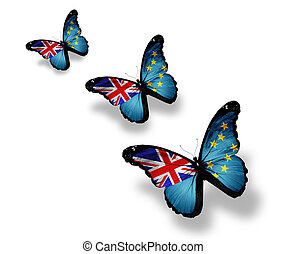 Three Tuvalu flag butterflies, isolated on white