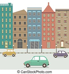 Three Type Of Cars In The City Vector Illustration
