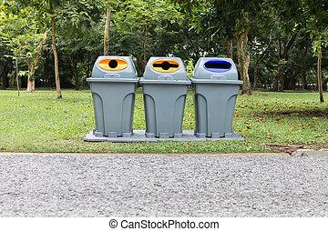 Three type of trash bin