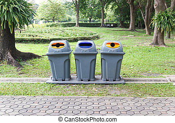 Three type recycling bin for each type of waste in the public park